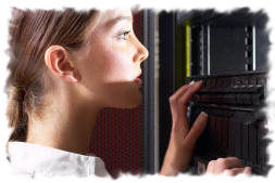 Woman looking at a computer rack